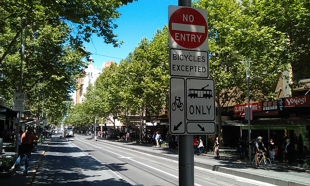 Southbound Swanston St at Little Bourke St