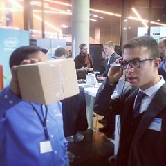 @Vuzix #M100 demonstrated at #InsideAR 2013 in Munich, Germany. Wearable eyewear to scan and interact with warehouse logistics systems.