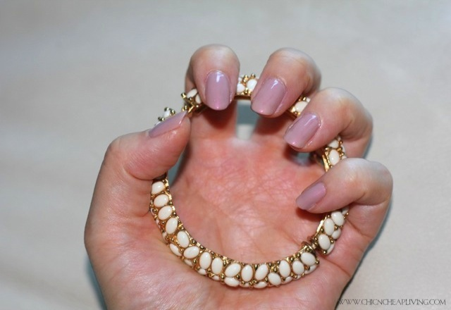 Marc Jacobs Fluorescent Beige nail polish with bracelet by Chic n Cheap Living