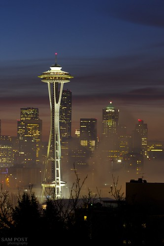 seattle blue sunrise cityscape meetup space needle hour karl fogmonster
