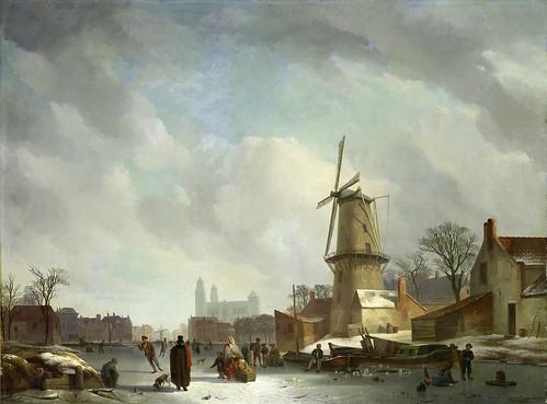 013-Hielo en un canal, John Abraham Couwenberg, 1830 - 1837-Rijkmuseum