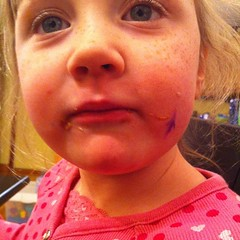 She gave herself a tattoo of purple thunder.