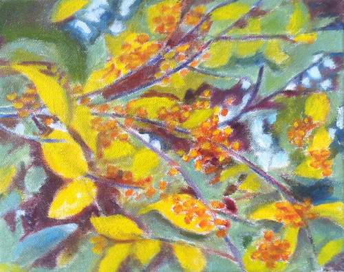 Golden Branches (Oil Bar Painting as of Dec. 13, 2013) by randubnick