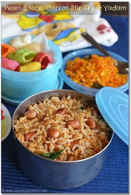 Peanut Rice, Carrot Stir Fry and Vadam