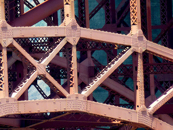 close up view of the steel framework under the golden gate bridge in San Francisco in California United States of America