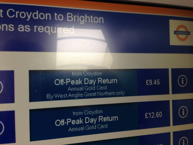 WAGN on London Overground ticket machine