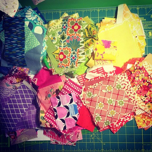 Second personal quilt cut out. My shoulder aches, but tomorrow I have help so I can sew these into blocks! :)