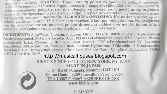 Kiehl's Clearly Corrective White Hydrating and Clarifying Treatment Masque ingredients