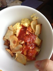 Migas with chicken and fresh made corn chips