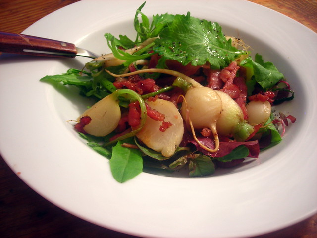 Baby mesclun salad, with smoked shoulder bacon, edible flowers and Japanese turnips