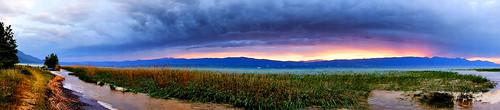 sunset sky panorama sun lake clouds panoramic sunse lakeohrid sonyalpha