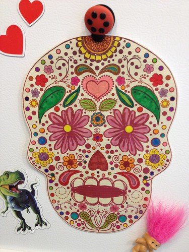 colorful sugar skull by ceck0face