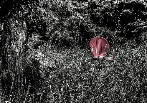 Abandoned Red Iron Chair
