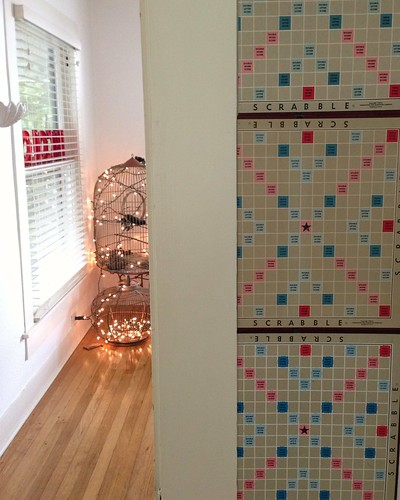 new wall design with vintage scrabble boards