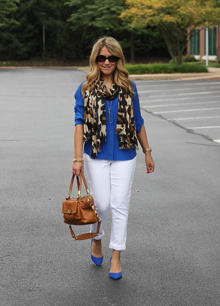 J Crew Blythe Blouse and White Jeans
