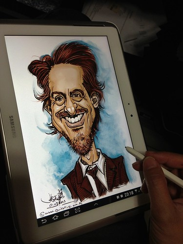 Robert Downey digital colour caricature on Samsung Galaxy Note 10.1 on Sketchbook Pro