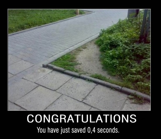 Congratulations you just saved 0,4 seconds