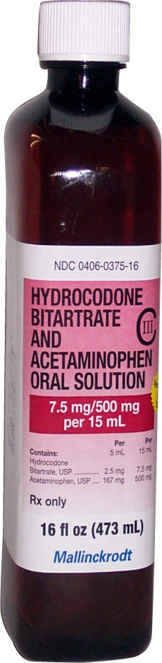 hydrocodone/acetaminophen oral solution 7.5mg/500mg Mallinckrodt