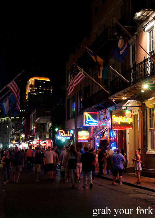 bourbon street at night in new orleans louisiana