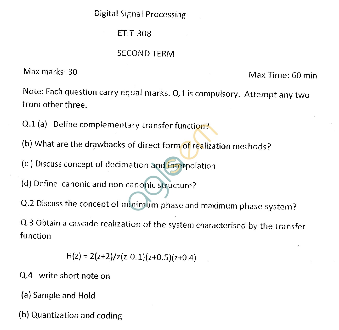 GGSIPU Question Papers Sixth Semester – Second Term 2013 – ETIT-308