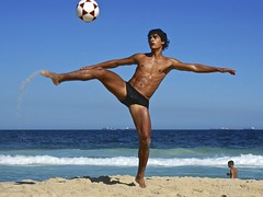 Football at Copacabana beach
