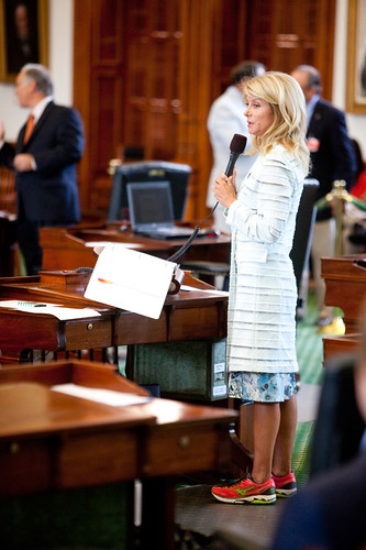 Senator Wendy Davis stands at her filibuster.