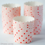 Pale pink & red spot baking cups