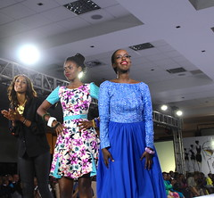 Designer Sonia Mugabo (in blue) on the runway of the Serena Hotel at the second Kigali Fashion Week show on Nov. 8, 2013. Credit: Amy Fallon/IPS