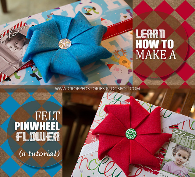 Learn how to make a felt pinwheel flower via Cropped Stories