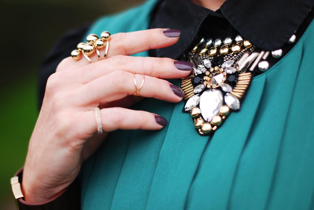 Black shirt & statement necklace