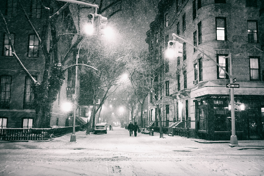 New York City - Snow at Night in the West Village
