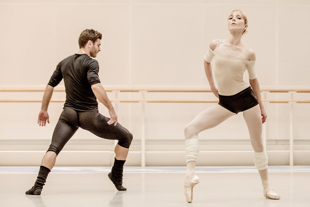 Sarah Lamb and Paul Kay in rehearsal for Tetractys - The Art of Fugue, The Royal Ballet © ROH/Johan Persson, 2014