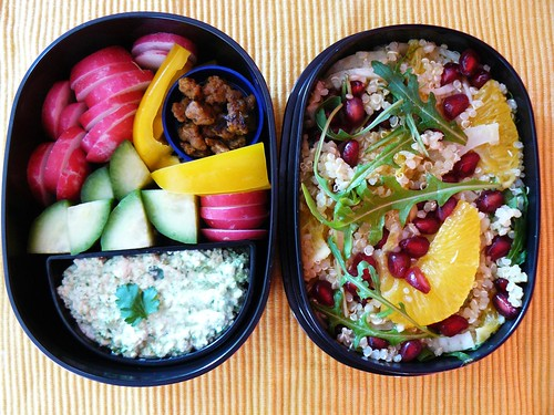 Bento: orange quinoa salad + veggies & dip