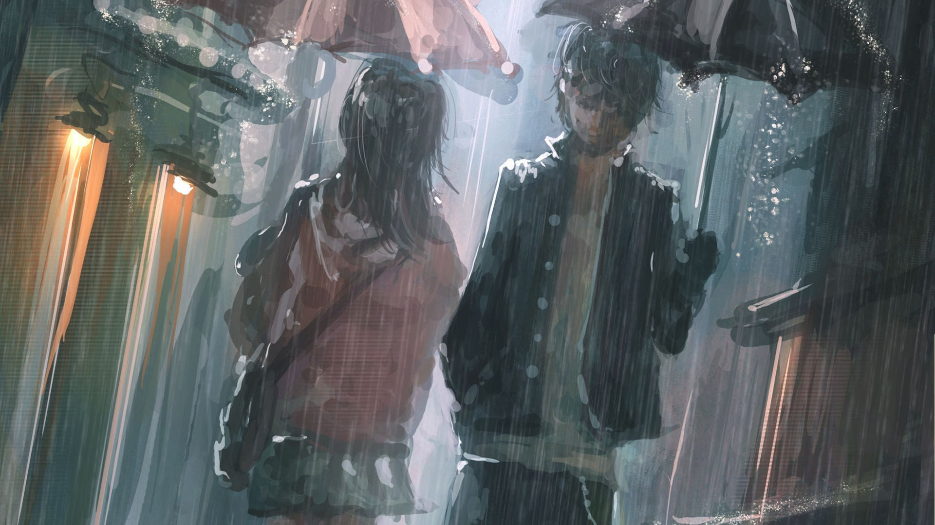 Anime Couple in rain - Top 10 HD Raindrop Wallpapers for Your Desktop
