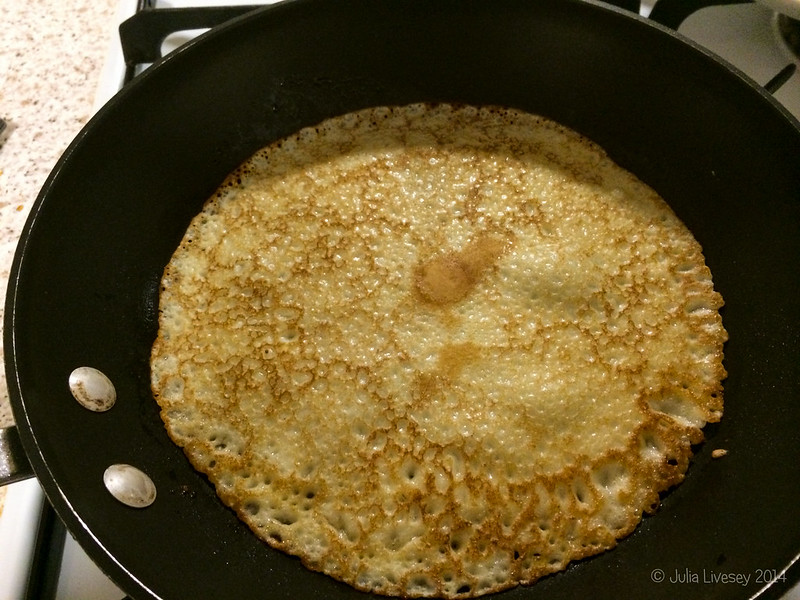 The pancake is in the pan!