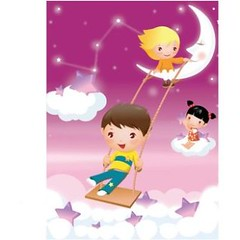 free vector Little Children Playing On  Moon Greeting Card