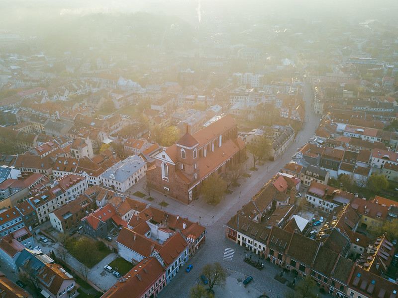 Old town in the early morning | Kaunas Aerial