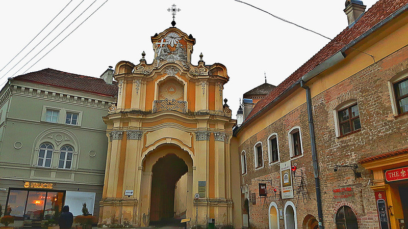 Bazilijonų vienuolyno vartai (Basilian monastery gate). Vilnius, Lithuania. March 18, 2017