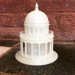 Bramante's Tempietto, finished at last.  I reprinted the balustrade at a lower temp to capture the details correctly.
