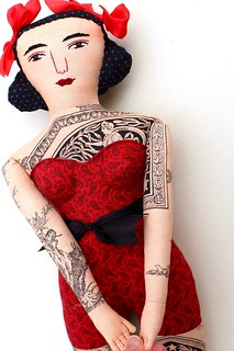 tattooed lady in red