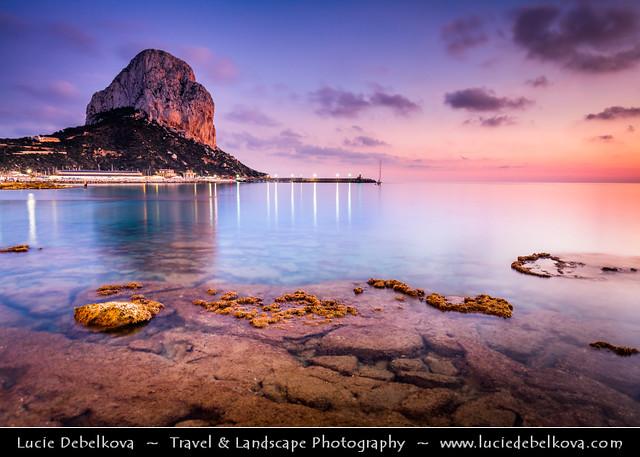 Spain - Calp -  Calpe's Peñón de Ifach Rock at shores of  Mediterranean Sea at Sunset