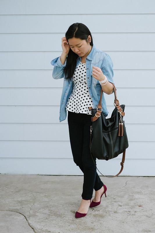 chambray shirt polka dot peplum