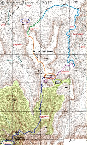 Map of the Horseshoe Mesa Loop (Grandview Trail, Tonto Trail, East Horseshoe Mesa Trail), Grand Canyon National Park, Arizona