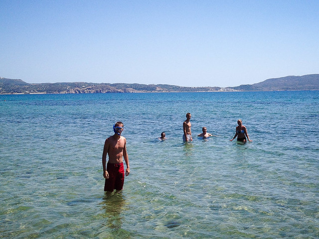 Taking a dip near Milos harbour