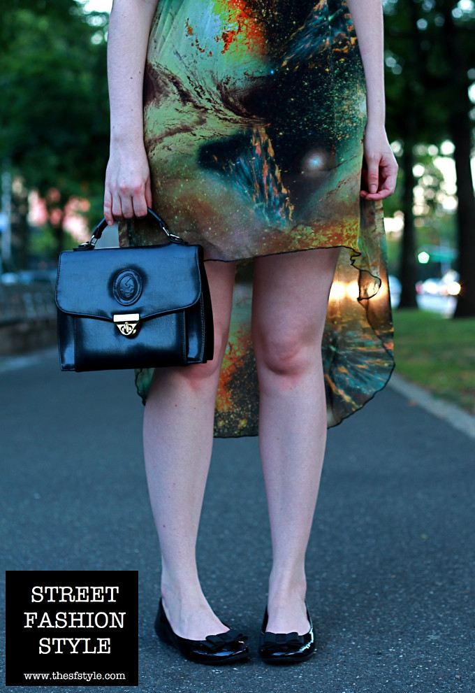 ferragamo flats, pink queen galaxy dress, vintage purse, brooklyn fashion blog, street fashion style, streetstyle,
