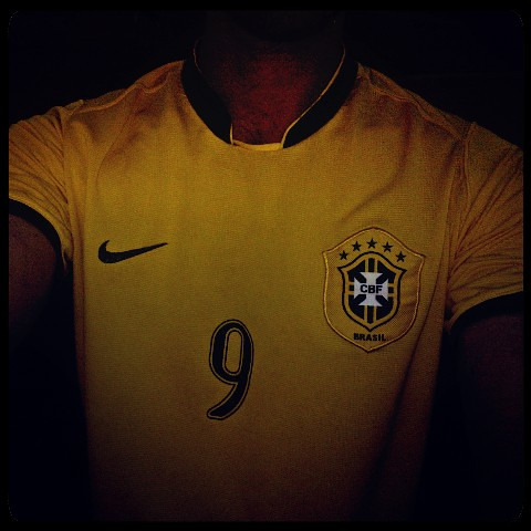 Running in central park in my Brazil soccer shirt
