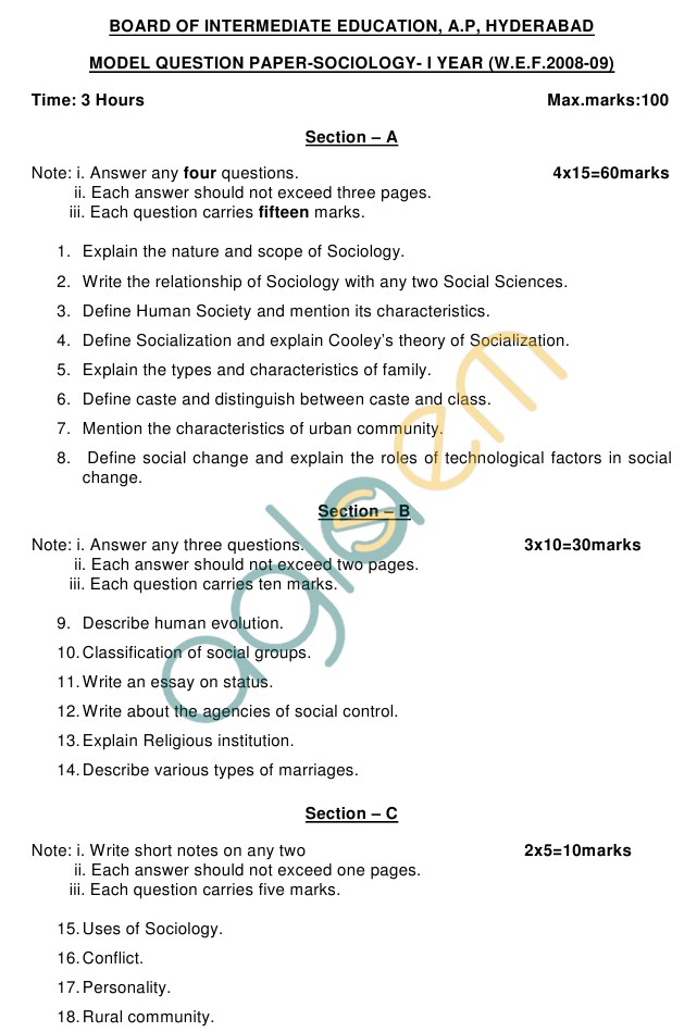 AP Board Intermediate I Year Sociology Model Question Paper