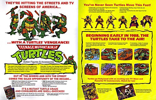 TEENAGE MUTANT NINJA TURTLES :: 'HEROES IN A HALF SHELL'  PLAYMATES TOYS 2009 NYCC / TMNT 25 RETRO PRINT ( 1987 Repro Sales Flyer } iv (( 2009 ))