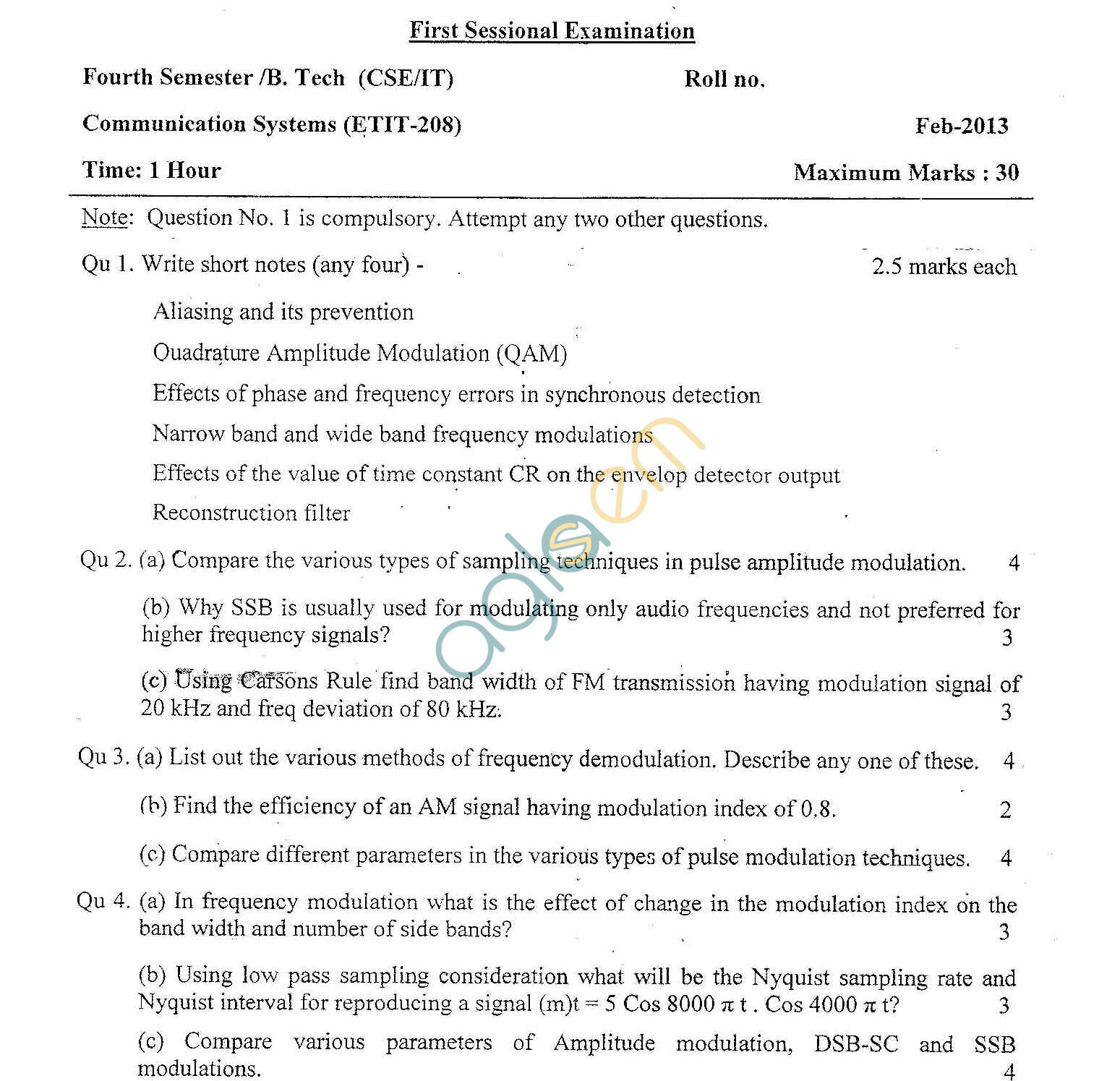 GGSIPU Question Papers Fourth Semester – First Term 2013 – ETIT-208