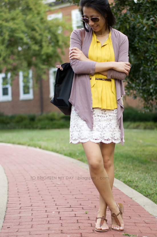 lace dress, mustard top
